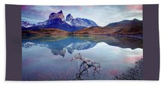 Beach Towel featuring the photograph Towers Of The Andes by Phyllis Peterson