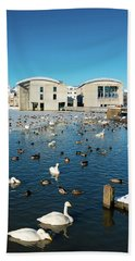 Town Hall And Swans In Reykjavik Iceland Beach Towel by Matthias Hauser