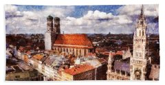 Beach Towel featuring the photograph Town Hall. Munich by Sergey Simanovsky