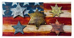 Toy Badges On America Flag Beach Towel