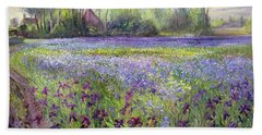 Trackway Past The Iris Field Beach Sheet by Timothy Easton