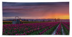 Tractor Waits For Morning Beach Towel by Mike Reid