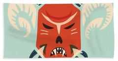 Traditional Bulgarian Evil Monster Kuker Mask Beach Towel