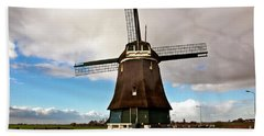 Traditional Dutch Windmill Near Volendam  Beach Towel