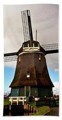 Traditional Dutch Windmill Near Volendam  Beach Sheet