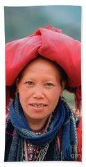 Traditional Fashion Of A Red Dzao Woman Beach Sheet