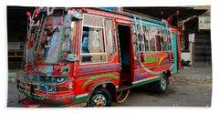 Traditionally Decorated Pakistani Bus Art Karachi Pakistan Beach Towel