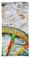Beach Towel featuring the photograph Traditional Sicilian Cart Wheel Detail by Silvia Ganora