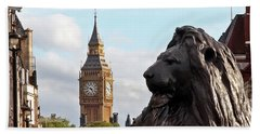Trafalgar Square Lion With Big Ben Beach Sheet
