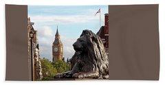 Trafalgar Square Lion With Big Ben Beach Sheet