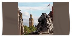 Trafalgar Square Lion With Big Ben Beach Towel