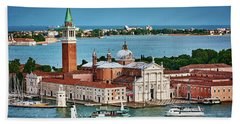 Traffic Around The Venetian Church Beach Towel