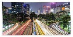 Traffic Night Rush In Jakarta, Indonesia Capital City.  Beach Towel
