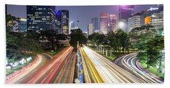 Traffic Night Rush In Jakarta, Indonesia Capital City.  Beach Sheet
