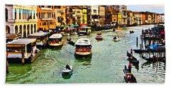 Traghetto, Vaporetto, Gondola  Beach Towel by Tom Cameron