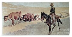 Trailing Texas Longhorns Beach Sheet by Frederic Remington