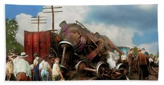 Beach Towel featuring the photograph Train - Accident - Butting Heads 1922 by Mike Savad