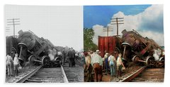 Beach Sheet featuring the photograph Train - Accident - Butting Heads 1922 - Side By Side by Mike Savad
