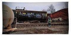 Train Accident Fireman And Hazmat Beach Towel