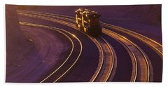 Train At Sunset Beach Towel