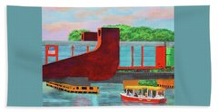 Beach Towel featuring the painting Train Over The New River by Deborah Boyd