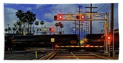 Train Crossing Beach Sheet by Timothy Bulone