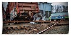 Train Derailed Freight Cars  Beach Towel