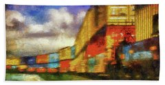 Train Freight Cars Beach Towel by Joseph Hollingsworth
