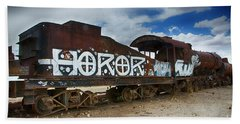 Train Graveyard Uyuni Bolivia 13 Beach Sheet
