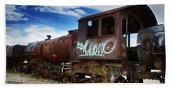 Train Graveyard Uyuni Bolivia 16 Beach Sheet