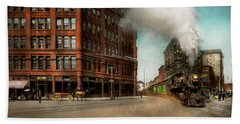 Beach Towel featuring the photograph Train - Respect The Train 1905 by Mike Savad
