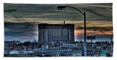 Train Station Detroit Mi Beach Towel by Nicholas  Grunas