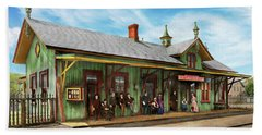 Beach Towel featuring the photograph Train Station - Garrison Train Station 1880 by Mike Savad