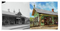 Beach Towel featuring the photograph Train Station - Garrison Train Station 1880 - Side By Side by Mike Savad