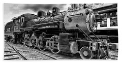 Train - Steam Engine Locomotive 385 In Black And White Beach Towel