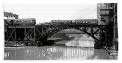 Beach Towel featuring the photograph Trains Cross Jack Knife Bridge - Chicago C. 1907 by Daniel Hagerman