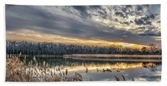 Tranquil Chesapeake Bay Pond During Winter At Sunset Beach Towel