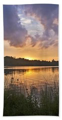 Tranquil Sunset On The Lake Beach Sheet by Gary Eason