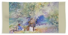 Beach Sheet featuring the painting Tranquility At The Brandywine River by Mary Haley-Rocks