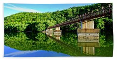 Tranquility At The James River Footbridge Beach Towel