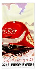 Trans Europ Express Railway,train,vintage Poster Beach Towel