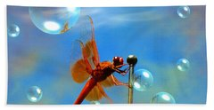 Transparent Red Dragonfly Beach Sheet