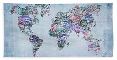 Traveler World Map Blue 8x10 Beach Towel