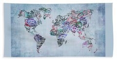 Traveler World Map Blue 8x10 Beach Towel
