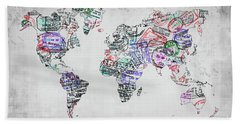 Traveler World Map Grey Beach Towel