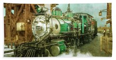 Traveling By Train Beach Towel by Claudia Ellis