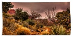 Traveling The Trail At Red Rocks Canyon Beach Towel