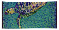 Beach Towel featuring the digital art Travis The Turtle by Erika Swartzkopf