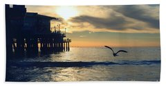 Seagull Pier Sunrise Seascape C1 Beach Towel