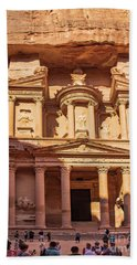 Beach Towel featuring the photograph Treasury Of Petra In Color by Mae Wertz